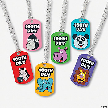 "48 ""100th Day Of School"" Dog Tag Necklaces"