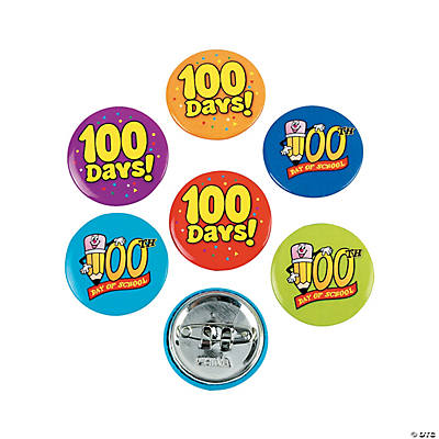 48 100th Day of School Mini Buttons