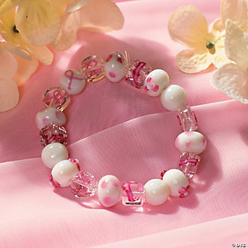 Pink Ribbon Beaded Bracelet