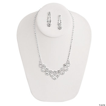 Rhinestone Flower Necklace & Earrings