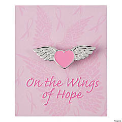 Pink Ribbon Angel Wings Pins On Cards