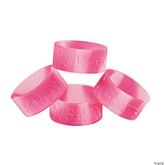 24 Pink Ribbon Rings