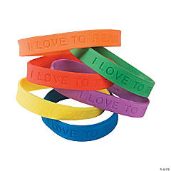 "24 ""I Love To Read"" Rubber Bracelets"