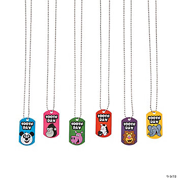 """100th Day"" Dog Tag Necklaces"