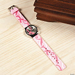 Pink Ribbon Swirled Band Watches