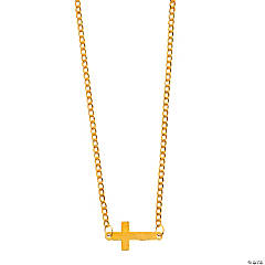 Goldtone Sideways Cross Necklace