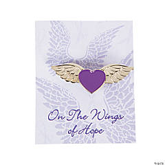 Purple Ribbon Angel Wings Pins On Cards