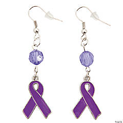 Purple Ribbon Earrings