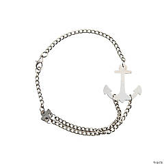 Silvertone Chain Bracelet With Anchor