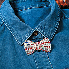 Rhinestone Flag Bow Tie Pin