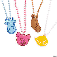 Plastic Farm Animal Beaded Necklaces