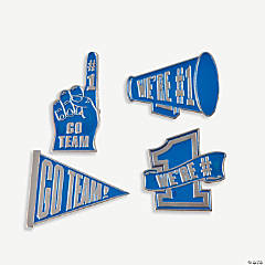 """Go Team!"" Pins - Blue"