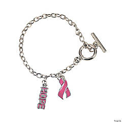Pink Ribbon Bracelets With Charms