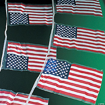 Line of American Flags
