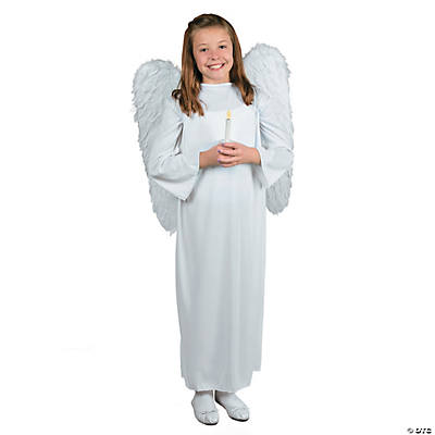 Angel Costume with Candle -  Child Large