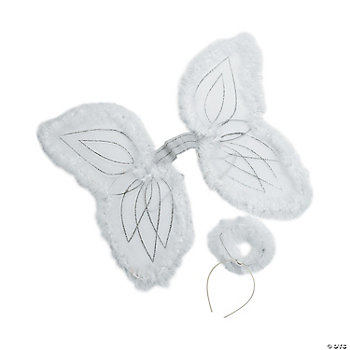 White Marabou Angel Wings & Halo Headband