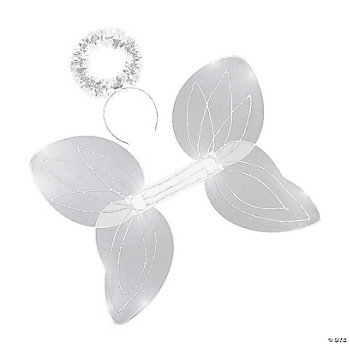 White Angel Wings & Halo Headband