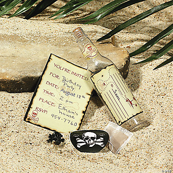 Skull And Crossbones Invitations In A Bottle