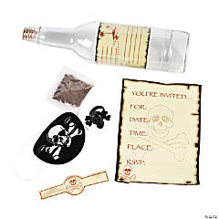 Skull & Crossbones Invitations in A Bottle