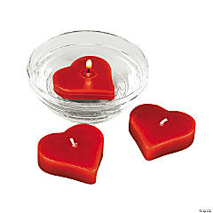 Red Heart-Shaped Floating Candles