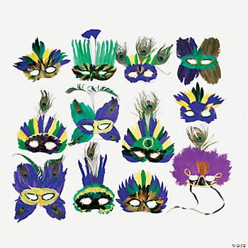 Deluxe Mardi Gras Feather Masks