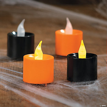 Orange & Black Battery-Operated Votives