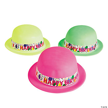 "Neon ""Happy Birthday"" Derby Hats"