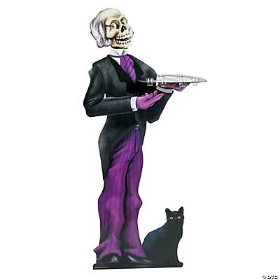 Freestanding Skeleton Butler with Tray