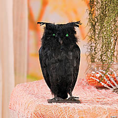 Feathered Owl with Light-Up Eyes