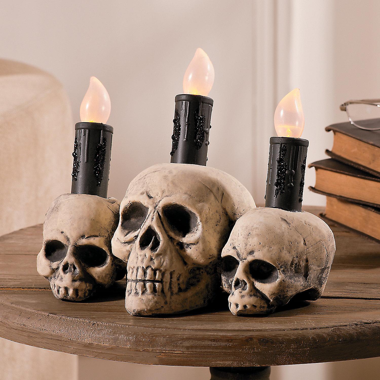 skull led candle oriental trading. Black Bedroom Furniture Sets. Home Design Ideas