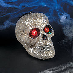 Glitter Hanging Skull With Red Eyes