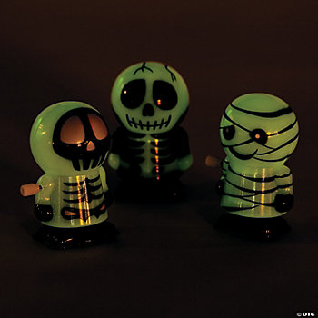 Glow-In-The-Dark Skeleton And Mummy Wind-Ups