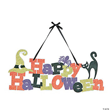 Happy Halloween Glitter Door Hanger