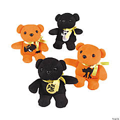 Plush Orange & Black Halloween Bears