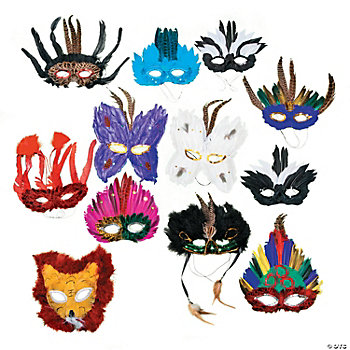 Deluxe Masquerade Feather Mask Assortment