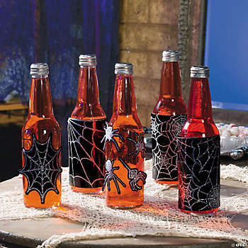 Spiderweb Bottle Labels With Sticker Gems