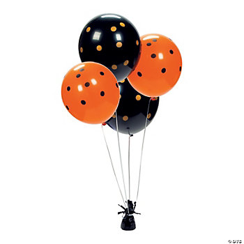 Latex Black & Orange Polka Dot Balloons