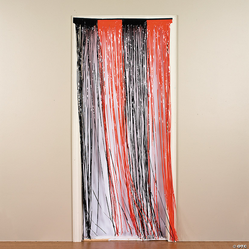 Plastic Orange Black Fringe Door Curtain