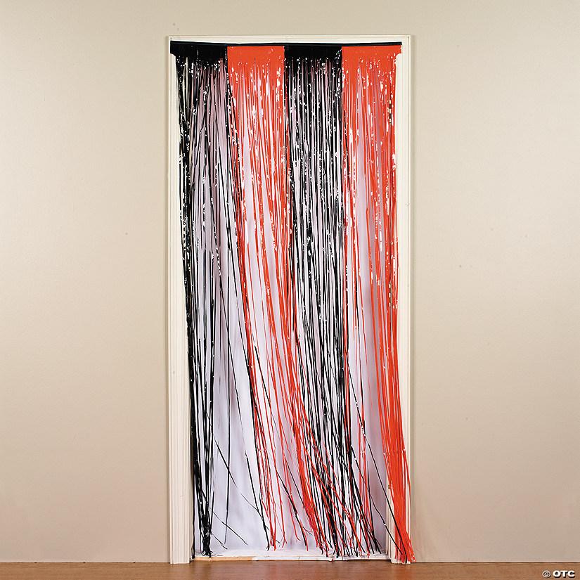 & Plastic Orange u0026 Black Fringe Door Curtain