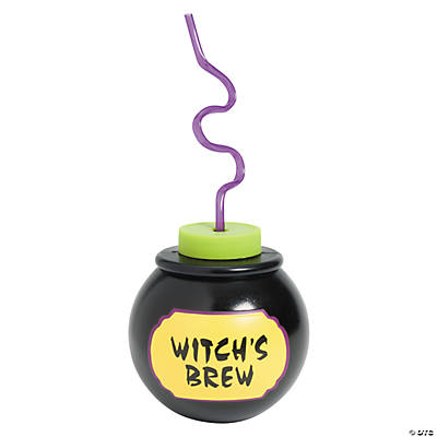 "Molded ""Witch's Brew"" Cups with Lids & Straws"