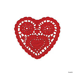 Small Red Lace Heart Doilies