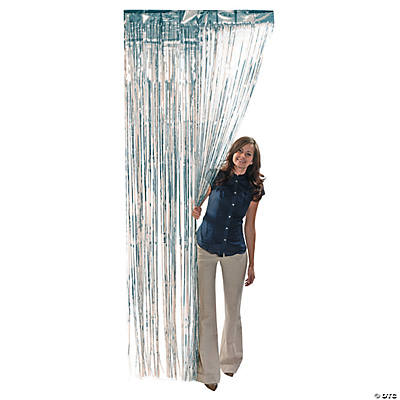 Metallic Silver Foil Fringe Curtain