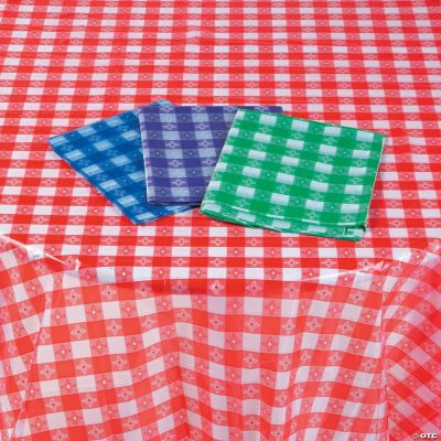Bon Disposable Checkered Plastic Tablecloth Assortment