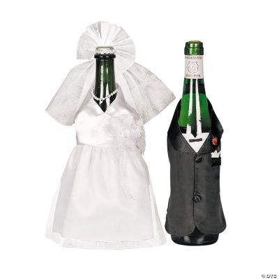 Bride & Groom Wine Bottle Cover Set