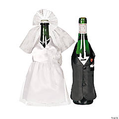 Bride & Groom Wine Bottle Cover Set