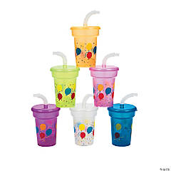 Mini Birthday Cups with Lids & Straws