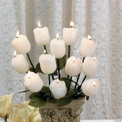 Long-Stemmed White Rose Candles