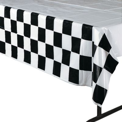 Quickview · Image Of Black U0026 White Checkered Plastic Tablecloth With  Sku:26/2215
