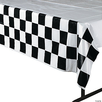 Black & White Checkered Tablecloth - Oriental Trading