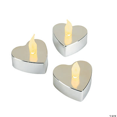 Heart-Shaped Silver Metallic Battery Operated Tea Lights